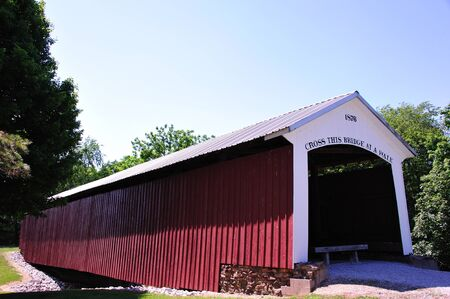 Hillsdale Covered Bridge - Indiana - 1876 Stock Photo