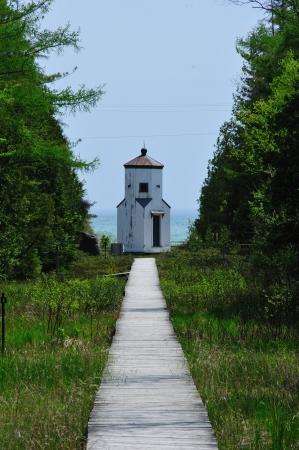 Door County - Boardwalk to Range Light on Lake Michigan, Door County, Wisconsin photo