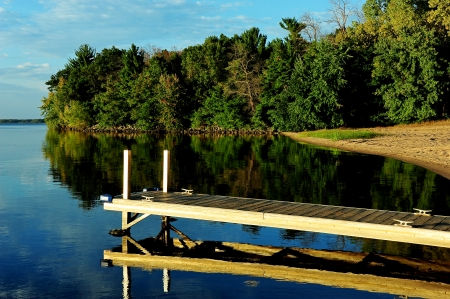 Calm Waters at Strongs Prairie, Wisconsin on Petenwell Lake Wisconsin River Stock Photo