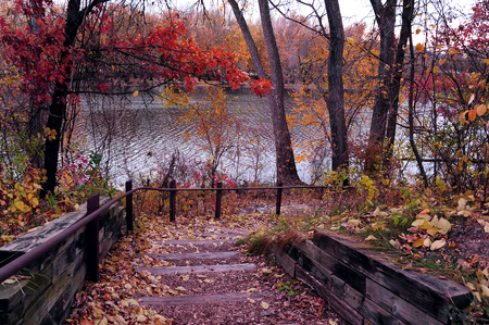 Fall Stairway Along the Mississippi River - LaCrosse, Wisconsin Stock Photo