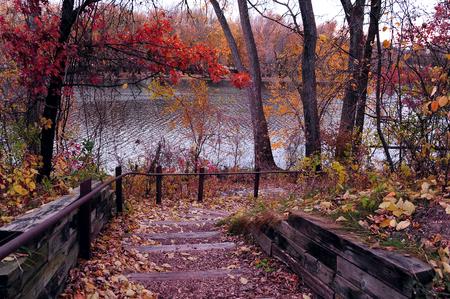 Vallen Stairway Langs de rivier de Mississippi - LaCrosse, Wisconsin
