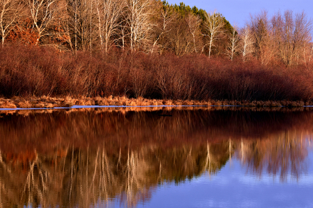 Cool Late Fall Sunset Reflections on Chester Creek, Wisconsin Stock Photo