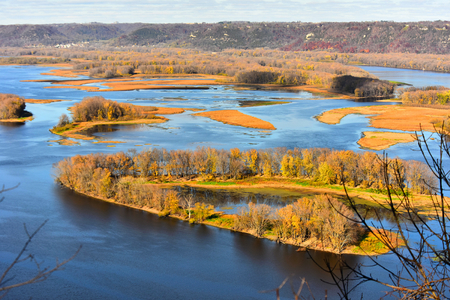 Horseshoe Shaped Island In Full Fall Color on the Mississippi River at Lansing, Iowa
