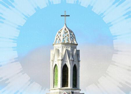 Beautiful Church Steeple - New Albin, Iowa Stock Photo