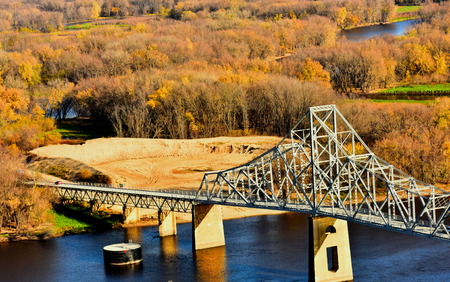 Bridge over Mississippi River at Lansing, Iowa in Fall Color