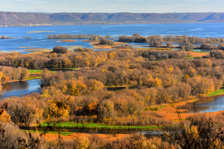 Fall - Hilltop View of Mississippi River at Lansing, Iowa
