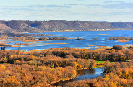 Hilltop View of Mississippi River at Lansing, Iowa Stock Photo