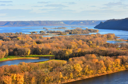 iowa: Hilltop View of Mississippi River at Lansing, Iowa Stock Photo