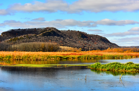 The Hills and Marsh in Full Fall Color - New Albin, Iowa - Upper Mississippi Refuge Stock Photo