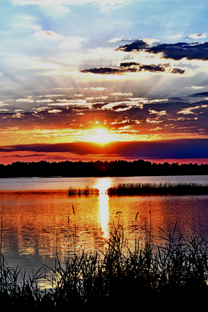 refuge: Starburst Sunset Necedah Wildlife Refuge Wisconsin Stock Photo