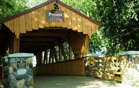 wisconsin: Covered Bridge Entrance - Sparta - Wisconsin Stock Photo