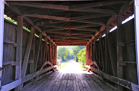 Covered Bridge - Billie Creek Covered Bridge Interior - Indiana
