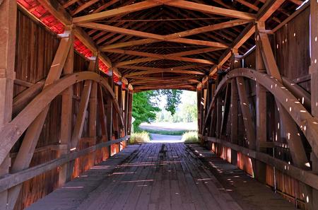 Covered Bridge - Harry Evans Covered Bridge Interior - Indiana Stock Photo