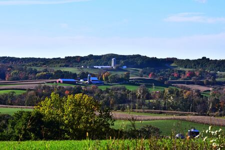 Pastoral Farms in Hills of Wisconsin Stock Photo