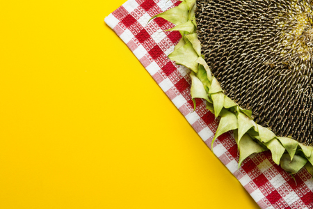 helianthus: Sunflowers and seeds in bowl on yellow background Stock Photo