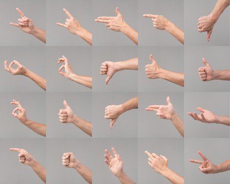 Variety of hands in different poses and signs on white background Stock Photo