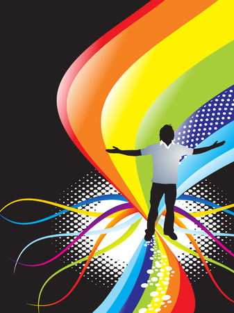 abstract rainbow wave background with standing pose of young boy illustrator Vector