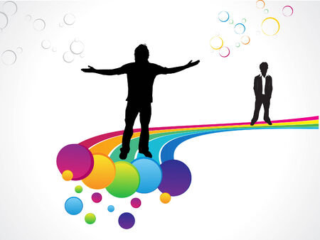 abstract colorful rainbow background with men vector illustration Vector