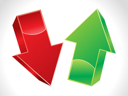 arrow down: abstract 3d up and down arrows  vector illustration