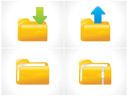 glossy folder icons set vector illustration