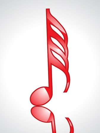 quavers: abstract red glossy musical word vector illustration