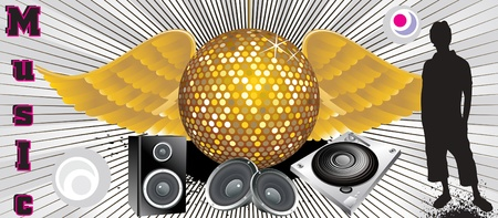 gold record: absract music theme with disco ball & shilloutes