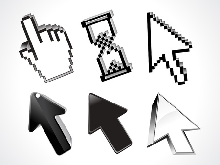 dimentional: abstract 3d glossy curssor set vector illustration Illustration