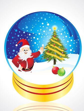 abstract christmas globe with santa & christmas tree Vector