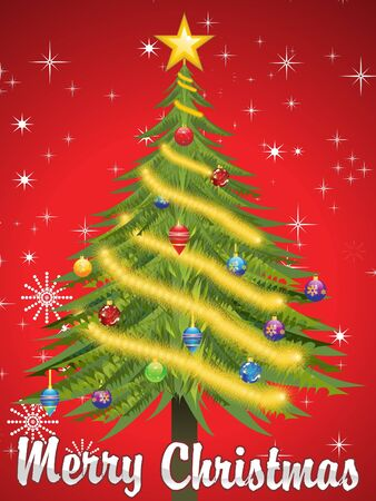 tree trimming: abstract christmas background vector illustration