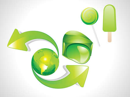 abstract eco , ice, candy& earth with arrow  Vector