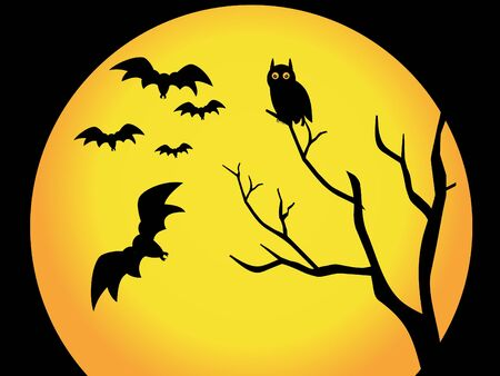 night bird: abstract halloween wallpaper vector illustration