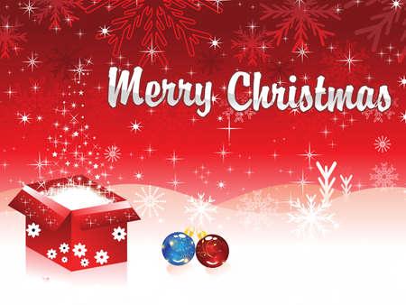 xmas linework: christmas magic box with christmas ball vector illustration