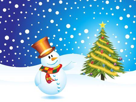 homme de neige avec arbre de Noël avec le vecteur de glace