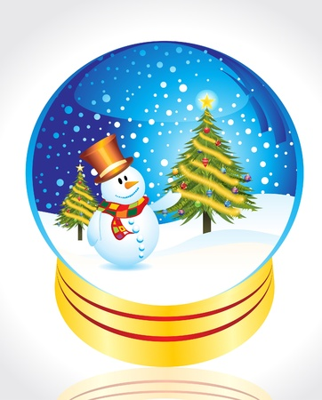 snow man with christmas tree globe vector illustration Stock Vector - 9085974