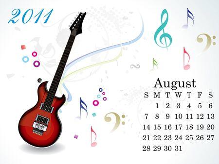 august calendar: ilustraci�n vectorial de calendario agosto abstracto Vectores