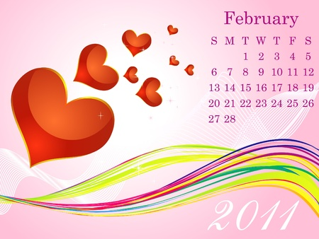 corazones: abstract february calendar vector illustration Illustration