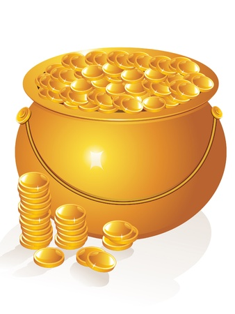 abstract golden pot with money coins vector illustration Vector