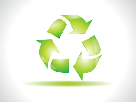 abstract green shiny recycle icon Stock Vector - 9085464