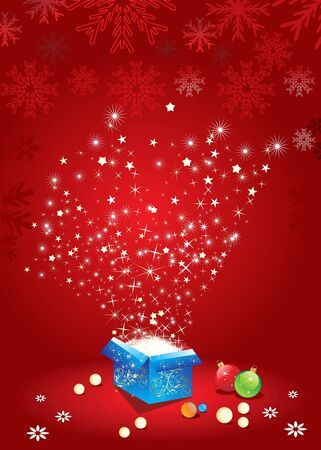 xmas linework: abstract magic box with christmas ball  vector illustration Illustration