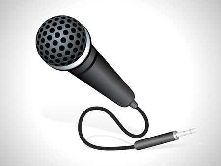 radio microphone: abstract mic with plug in black color vector illustration  Illustration