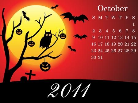 abstract october calendar vector illustration Stock Vector - 9085560