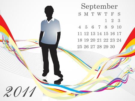 calendario septiembre: Resumen de la ilustraci�n vectorial de septiembre calendario