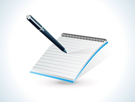 blue shiny notepad icon vector illustration Stock Vector - 9085590