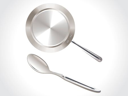 stew pot: stainless steel vessel spoon and pan vector illustration