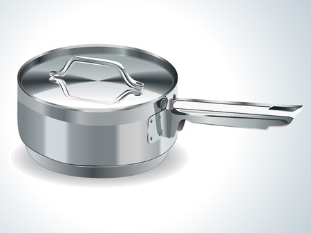 saute: stainless steel pot vector illustration Illustration