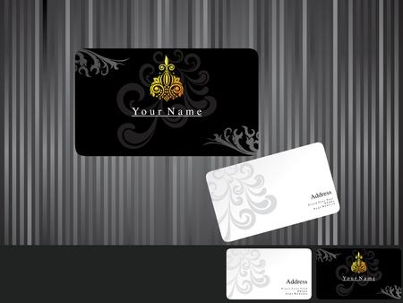 dark fiber: abstract black business cards vector illustration Illustration
