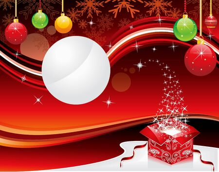 xmas linework: abstract christmas background with magic box vector illustration