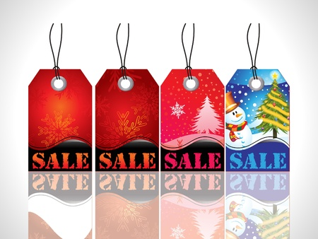 tree service business: abstract christmas tag with red blue colors