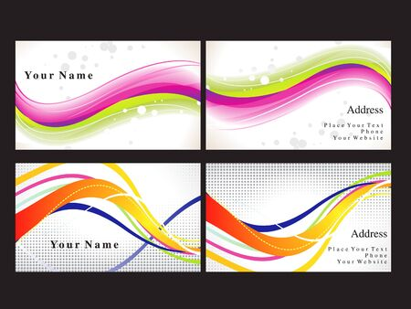 leaflet: abstract colorful business card vector illustration