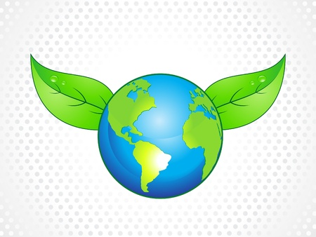 abstract eco globe with leaf vector illustration Stock Vector - 9086269